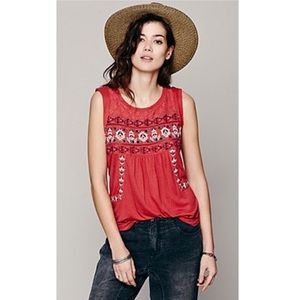 Free People Reckless Abandon Tunic Top Red Large